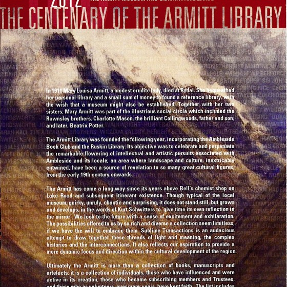 Armitt Museum Ambleside Armitt Centenary Poster 2012 Designed by Russell Mills & Michael Webster