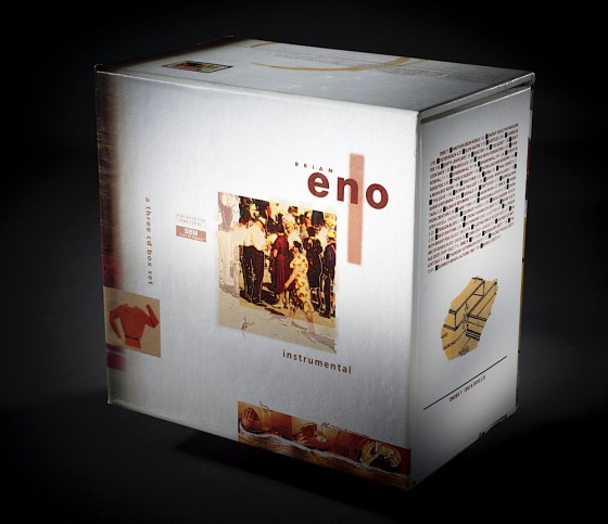 Brian Eno, Eno I & II 2 boxsets each containing 3 CDs and a 60 page booklet: Box II pack shot Virgin Records, 1994 Art & design by Russell Mills, co-design by Dave Coppenhall