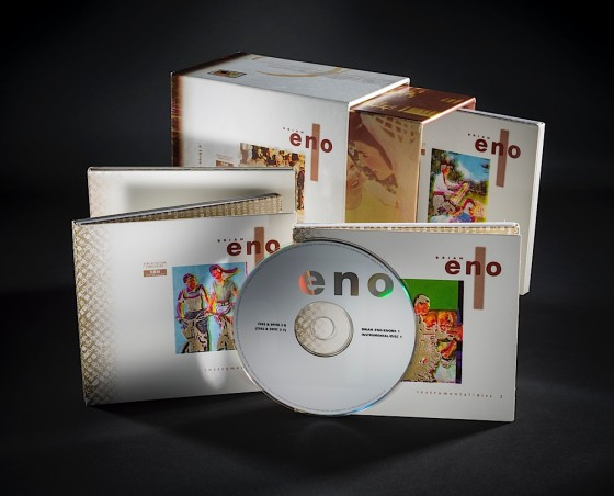 Brian Eno, Eno I & II 2 boxsets each containing 3 CDs and a 60 page booklet: Box II Virgin Records, 1994 Art & design by Russell Mills, co-design by Dave Coppenhall
