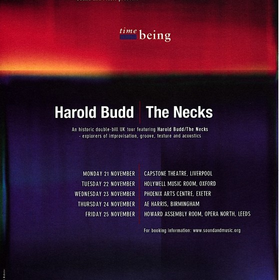 Harlod Budd/The Necks Time Being Poster 2011 Designed by Russell Mills & Michael Webster