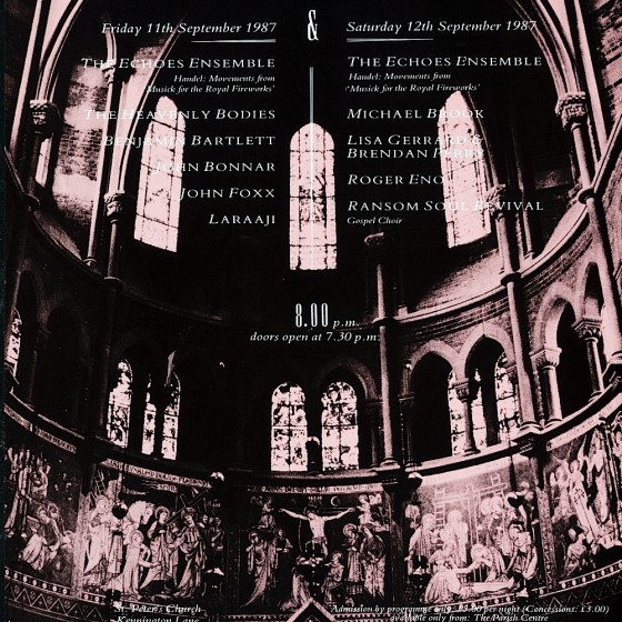 Echoes from The Cross 1987 Poster for series of concerts: front and reverse Design by Russell Mills, Dave Coppenhall and Maggi Smith