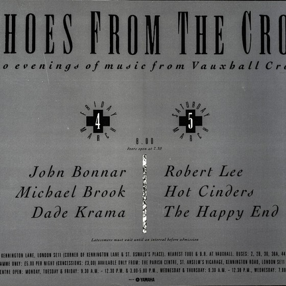 Echoes from The Cross 1988 Poster for series of concerts: front and reverse Design by Russell Mills, Dave Coppenhall and Maggi Smith
