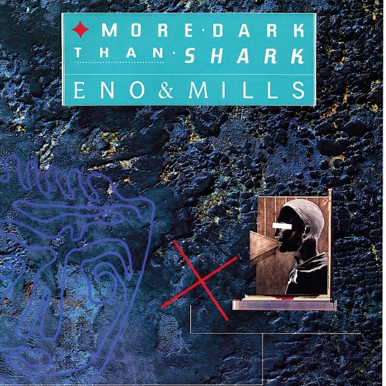 Eno & Mills: More Dark Than Shark Book promotional brochure (1986) Design by Malcolm Garrett (AI), images by Mills