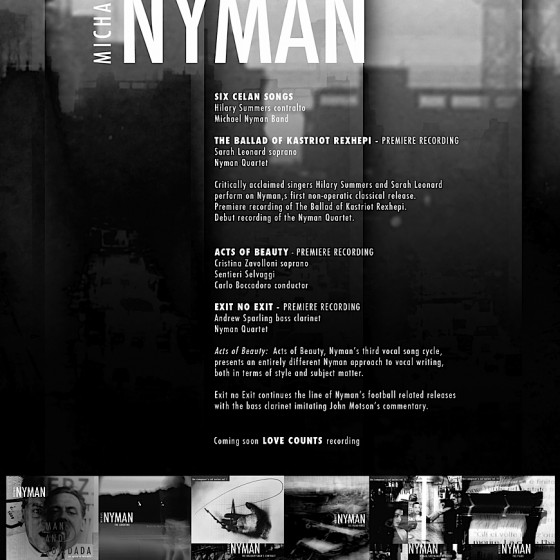 Michael Nymans A5 Advertisement Designed: Russell Mills and Michael Webster