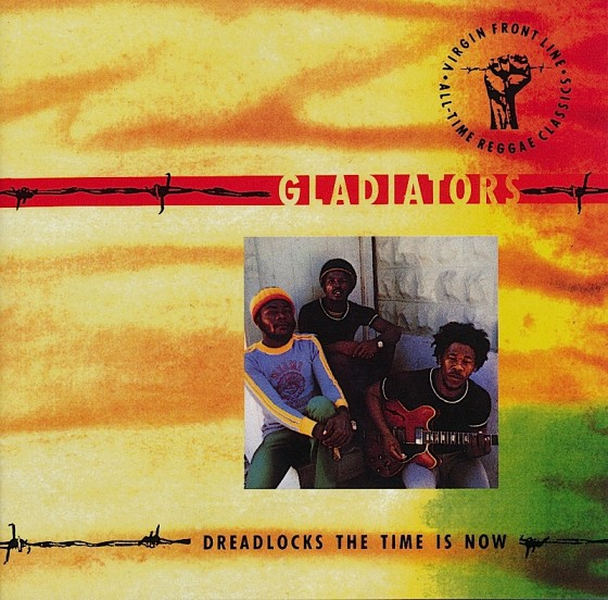 Beyond The Frontline 1: Gladiators: Dreadlocks The Time Is Now Virgin Records 1990 Art & design by Mills co-design by Dave Coppenhall