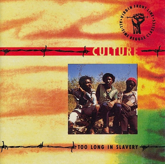 Beyond The Frontline 11: Culture: Too Long In Slavery Virgin Records, 1990 Art & design by Mills co-design by Dave Coppenhall