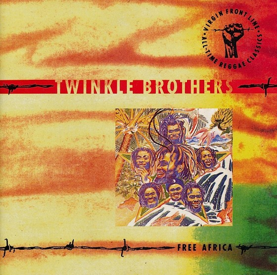 Beyond The Frontline 8: Twinkle Brothers: Free Africa Virgin Records 1990 Art & design by Mills co-design by Dave Coppenhall