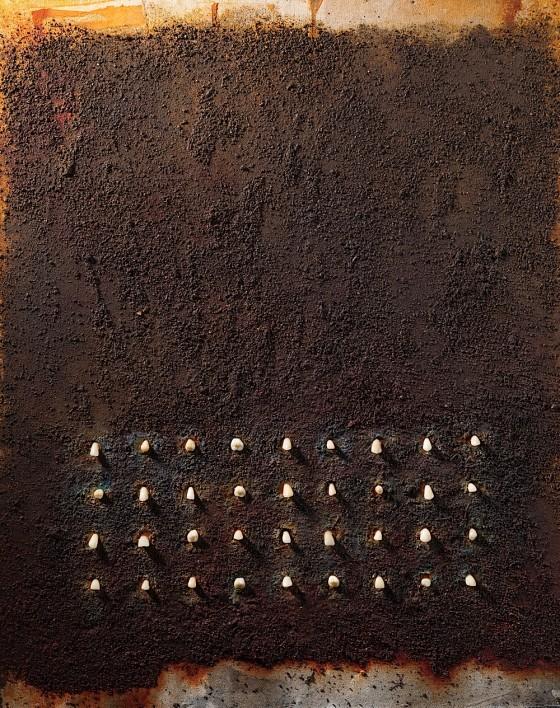 Army 2013 Plaster, earth, oils, acrylics, teeth, on wood 76 x 56 cm