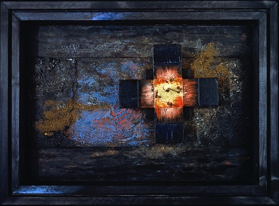 Oils, acrylics, plaster, earth, rust dust, wood, on wood 53 x 73.5 cms Private collection UK