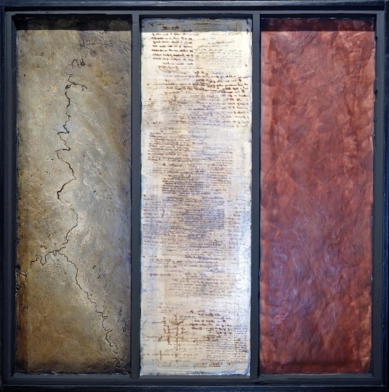 Bell, Book, Candle 1995-96 Oils, acrylics, plaster, wax, collage, on wood 114 x 113 cm Private collection Japan
