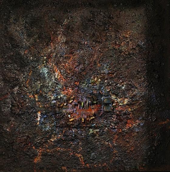Blood Is Climbing I 2013 Plaster, earth, oils, acrylics, bronze powder, fabric, gems, on wood 44 x 44 cm