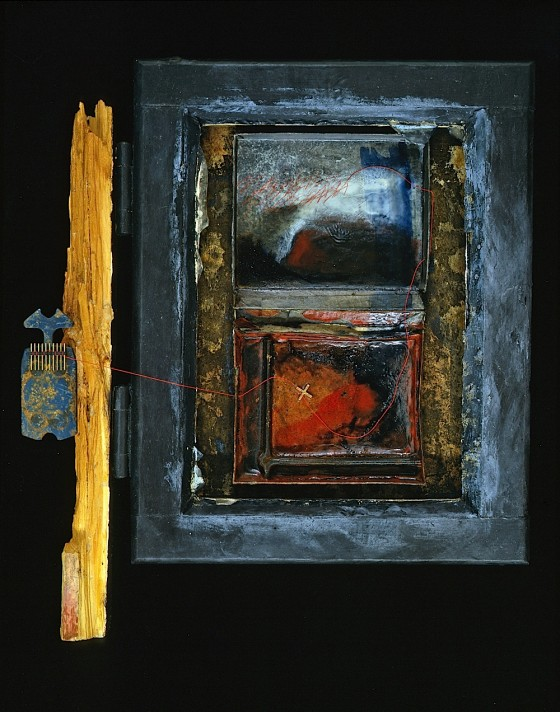 Breath On The Mirror 1989-90 Oils, acrylics, plaster, wood stains, threads, cardboard, plastic tile spacer, metal, wood, on board 40.1 x 32 cm Private collection UK