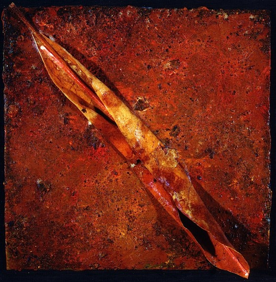 Cinnabar 1993 Oils, acrylics, earth, leaf, on wood 15 x 15 cm