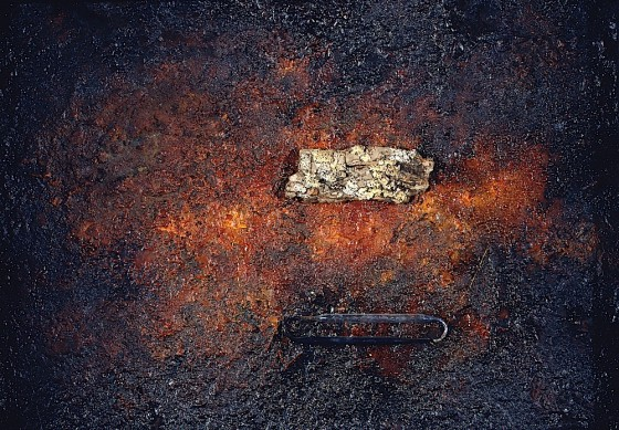 Dreams of Amber 1997 Oils, acrylics, plaster, earth, bitumen, tree bark, pipettes, copper wire, on wood 42.5 x 55.5 cm