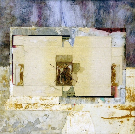Dust Keeps A Diary 2010 Acrylics, treated papers, rusted metal, cotton thread, on card 29 x 29 cm