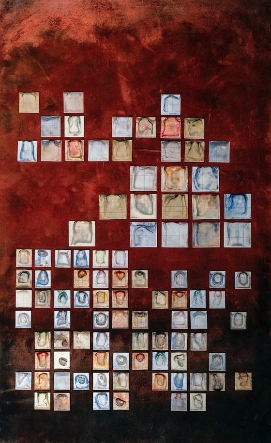 Dust of Mens' Tears II 2013 Oils, acrylics in dispersion in coin envelopes, burning on velvet, on wood 99 x 61 cm