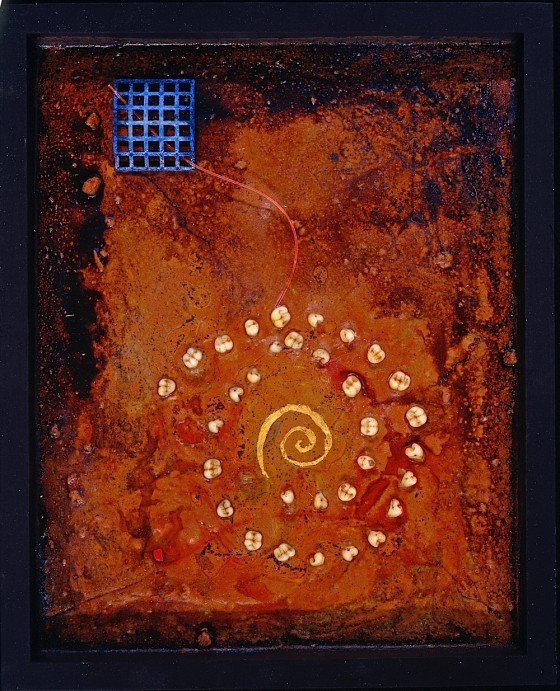 Earth Is Instinct 1993 Oils, acrylics, plaster, earth, sand, wood stains, gold leaf, metal, fibre optic, teeth, on board 25.5 x 20 cm Private collection UK