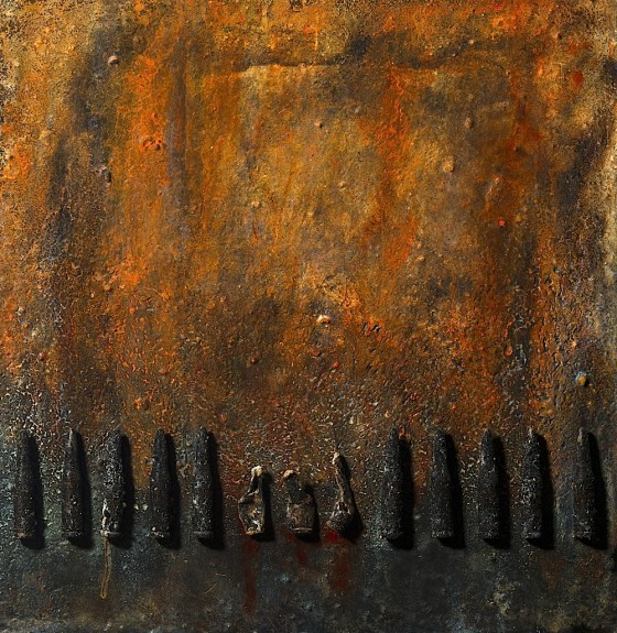 Every Knuckle (Of Soft Ore A Bullet In A Soldier's Ear) 2013 Plaster, earth, oils, acrylics, coal dust, bullets, on wood 44 x 43 cm