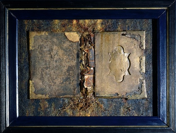 Ex Libris 1996 Oils, acrylics, plaster, earth, cellophane, roots, Bible covers, on board 64 x 84 cm