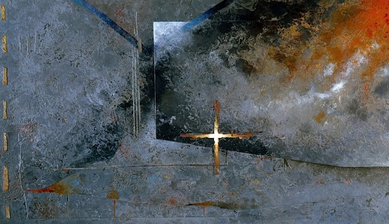 Exorcising Ghosts 1984 Oils, acrylics, plaster, fabric, on board 76 x 46 cm Private collection UK