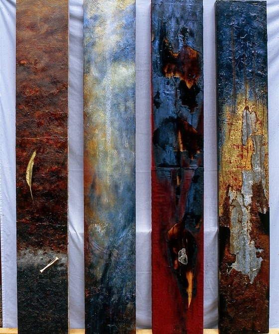 Fulcrum 2003-04 Oils, acrylics, bronze powders, plaster, earth, sand, gold leaf, ash, velvet, bone, copper, feather, salt, rusted metal, mica, hair, shellac, varnish, on canvas on wood 4 sections, each 203 x 31 cm; overall dimensions 203 x 169 cm