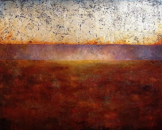 Festina Lente #1 (Hasten Slowly)2009 Earth, plaster, ash, haematite, silver leaf, liver of sulphur, mica, oils, acrylics, varnish on canvas,bar> 4' x 5' (122 x 152.5 cms)