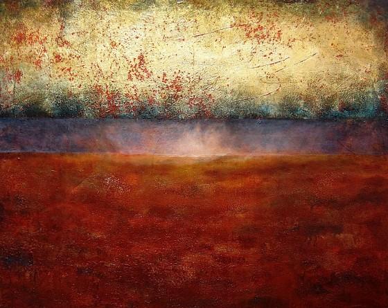 Festina Lente #2 (Hasten Slowly)2009 Earth, plaster, ash, haematite, gold leaf, liver of sulphur, mica, oils, acrylics, varnish on canvas4' x 5' (122 x 152.5 cms)