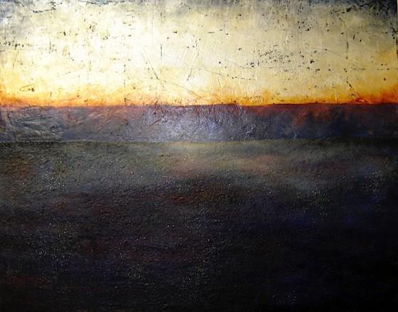 Festina Lente #3 (Hasten Slowly)2009 Earth, plaster, ash, haematite, silver leaf, liver of sulphur, mica, oils, acrylics, varnish on canvas 4' x 5' (122 x 152.5 cms)