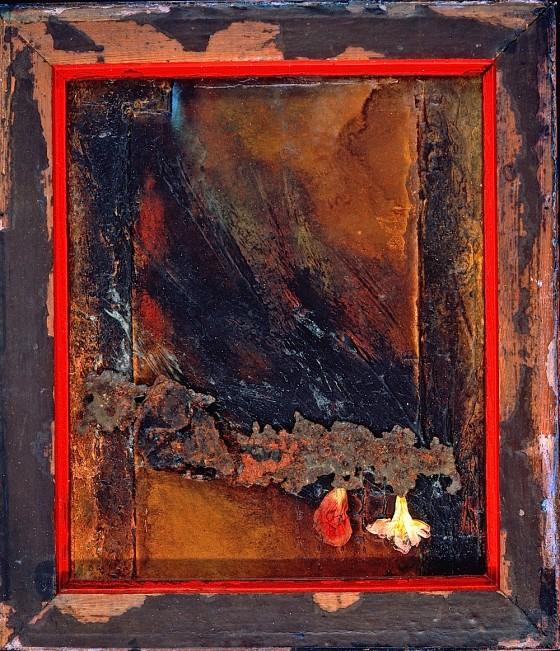 First Dark 1998 Oils, acrylics, bitumen, plaster, rusted metal, petals on board 32 x 35.5 cm