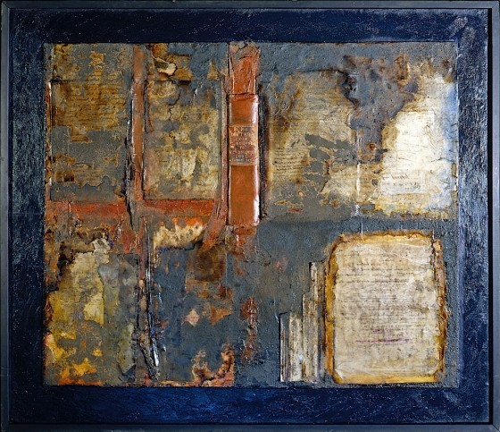 Foxed 1996 Oils, acrylics, wood stain, coal dust, books, paper, leather, on wood 91.5 x 122 cm Private collection UK