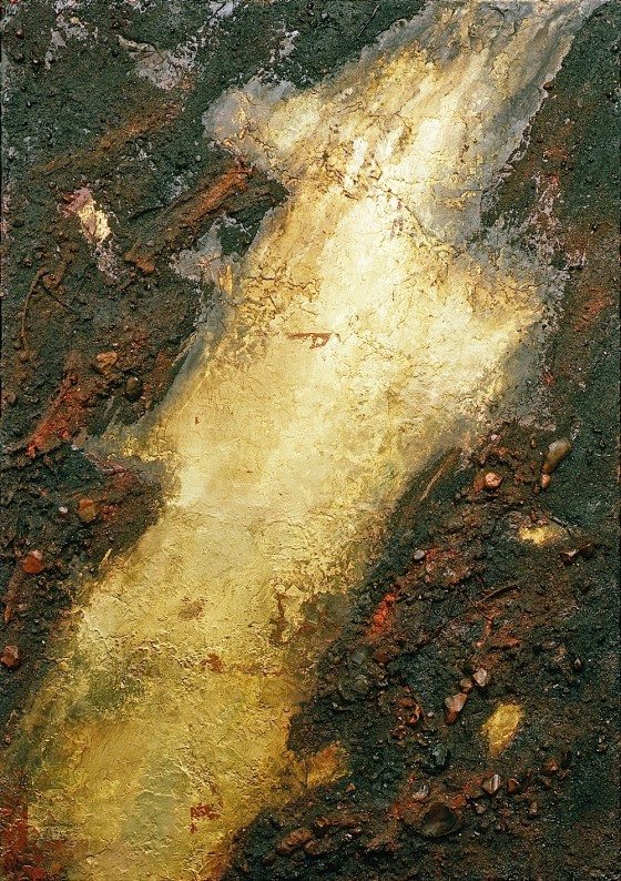 Golden River 1987 Oils, acrylics, plaster, earth, gold leaf, etching varnish, on wood 59.5 x 47.7 cm