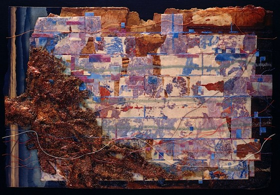 Healthy Colours #1 1994 Oils, acrylics, plaster, earth, masking tape, threads, collage, on board 23 x 34 cm