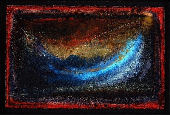 Heaven Dips 1992 Oils, acrylics, plaster, earth, ash, threads, on wood 25.5 x 34 cm Private collection UK