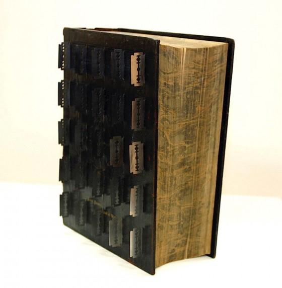 Hold: The Deep Uncertainty of Knowing (Thought Engine) 2004-05 Victorian family bible embedded with razor blades 35 x 25.5 x 10.5 cm