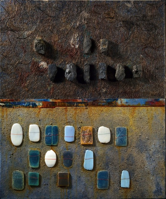 Home Truths 2013 Plaster, earth, oils, acrylics, hair, soap, coal, ashes, threads, on wood 61 X 51 cm