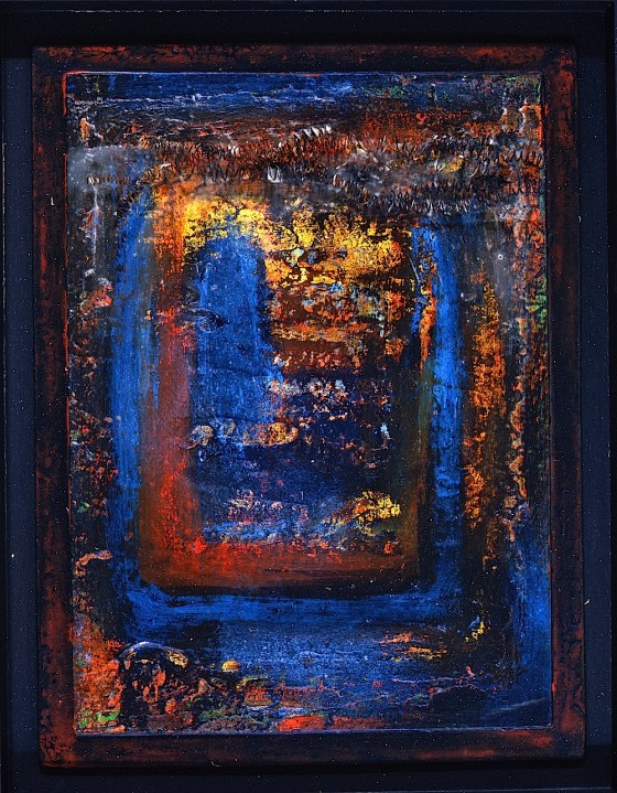 Ice In The Sleeve 1992 Oils, acrylics, plaster, ash, on board 35.5 x 28 cm
