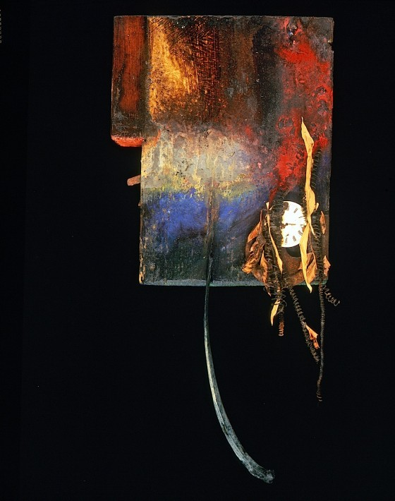 In Gathering Trance 1990 Oils, acrylics, wood varnishes, watch face, leaves, spring mechanisms, bone, wood 37.5 x 18 x 8 cm