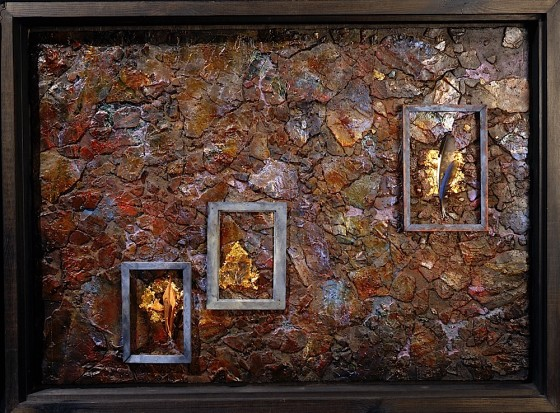 Invisible Empires 1994 Oils, acrylics, plaster, earth, pigments, nail varnish, gold leaf, mica, poppy seed head, leaves, feathers, wood 62 x 84 cm