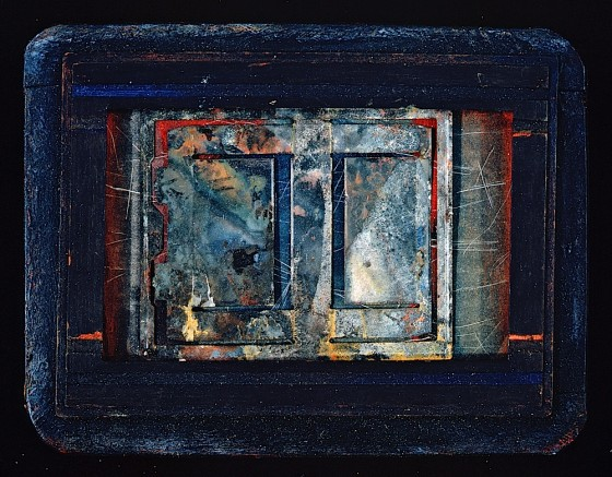 Karuma Blue 1989 Oils, acrylics, wood stain, chalk, crayon, Polaroid frame, on wood 15 x 20 cm Private collection Japan