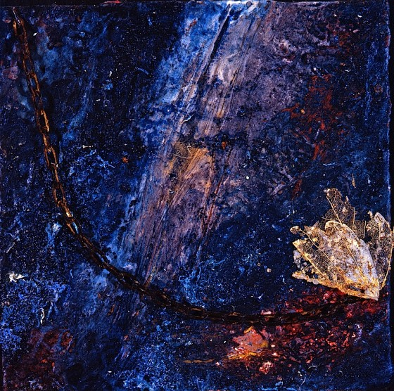 Lift 1993 Oils, acrylics, plaster, ash, chain, painted leaf skeletons, on wood 14 x 14 cm Private collection Norway