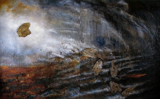 Light Out 2002 Oils, acrylics, bronze powders, earth, coal dust, ash, bird's wings, on canvas 152.5 x 245 cm on two canvases