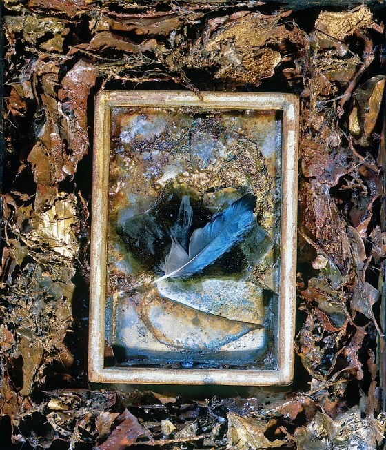 Little Niagaras 1996 Oils, acrylics, plaster, sand, pigments, leaves, mica, bronze powders, metal, feather, in box 28 x 24 cm
