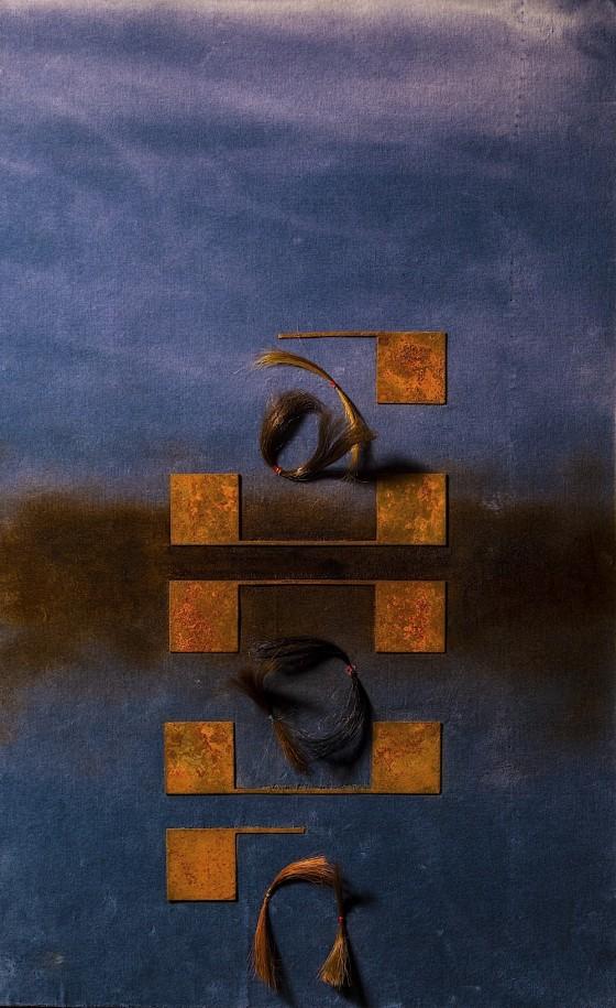 Locks 2013 Hair, threads, rusted metal, burning, velvet, on wood 74 x 46 cm