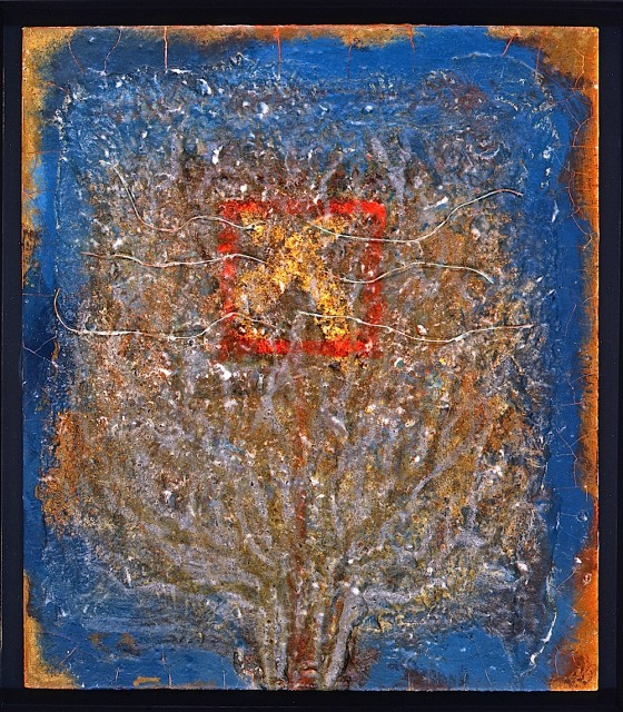 Lost In The Near 1992 Oils, acrylics, plaster, earth, ash, bronze powders, copper wires, on wood 52 x 41 cm