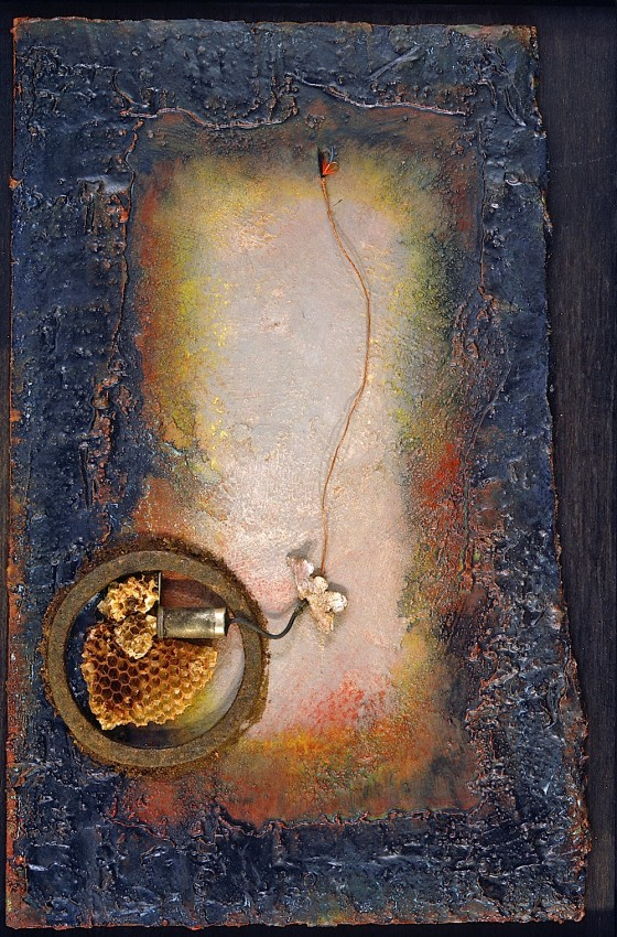 Lumen Field (for Arvo Pärt) 1989 Oils, acrylics, plaster, etching varnish, wood stain, reflective paint, fishing fly, rusted metal, copper wire, on wood 62 x 43.5 cm Private Collection, Japan