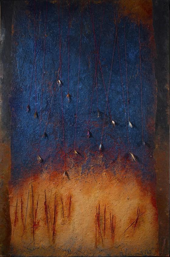 Lures 2013 Plaster, earth, oils, acrylics, fishing flies, threads, on wood 74 x 46 cm