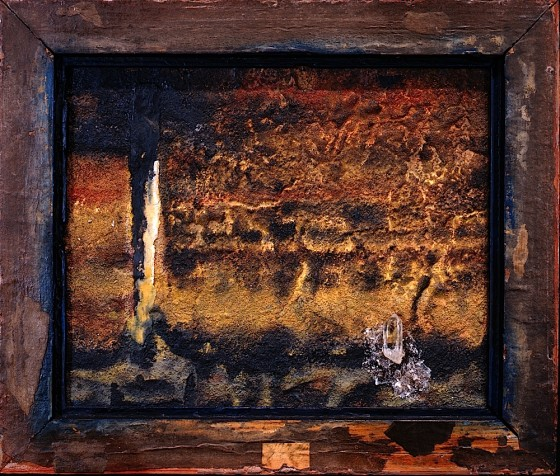 Measured In Shadows #1 Quicksilver 1991 Oils, acrylics, plaster, sand, ash, quartz, on wood 25.5 x 30.5 cm Private Collection UK