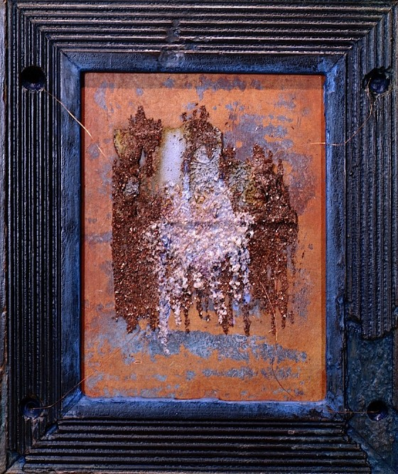 Measured In Shadows #2 Salt 1991 Oils, acrylics, rust dust, salt, copper wires, on wood 15 x 20 cm Private Collection UK