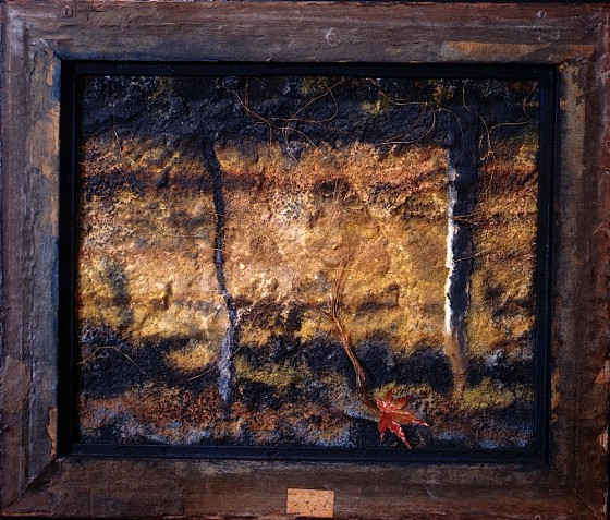 Measured In Shadows #3 Sulphur 1991 Oils, acrylics, plaster, sand, ash, copper wires, leaf, on wood 25.5 x 30.5 cm Private Collection UK