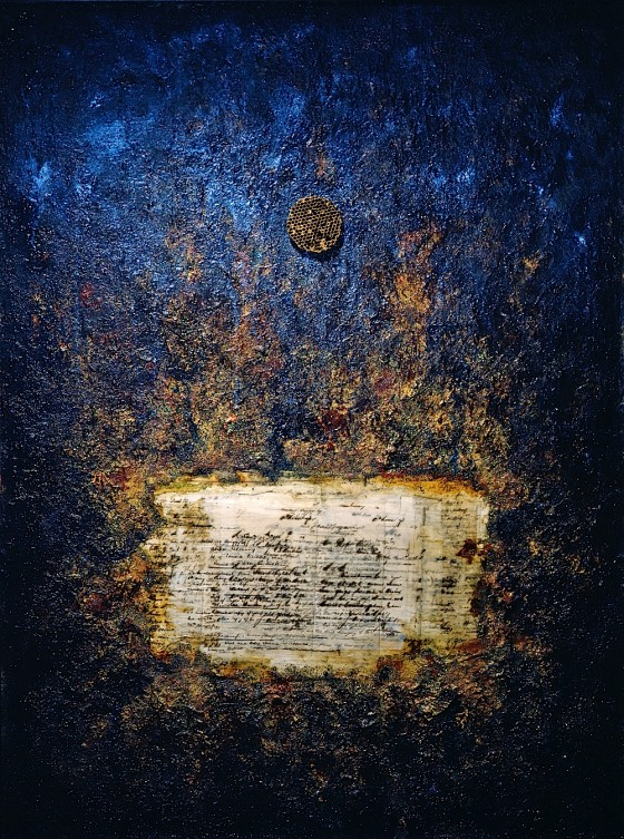 Mineral Mother 1997 Oils, acrylics, plaster, earth, bronze powder, pigments, collage, wax, honeycomb, on wood 127 x 97 cm Private collection USA